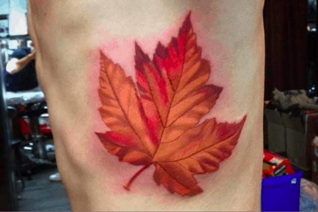Maple leaf tattoo 1