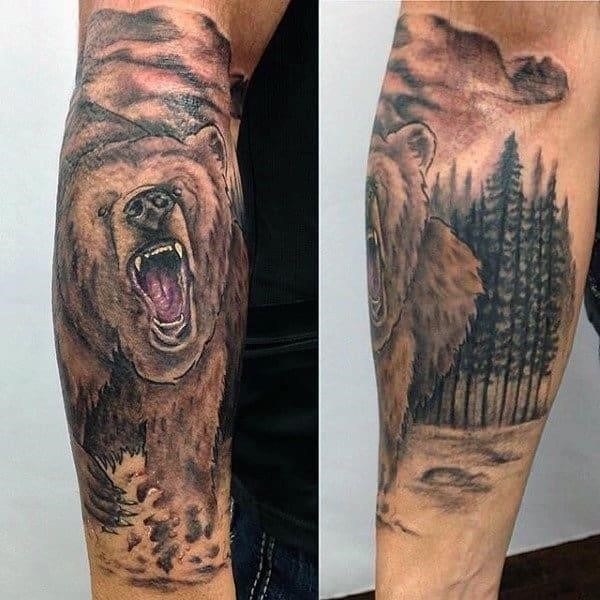 Masculine mens bear tattoo ideas
