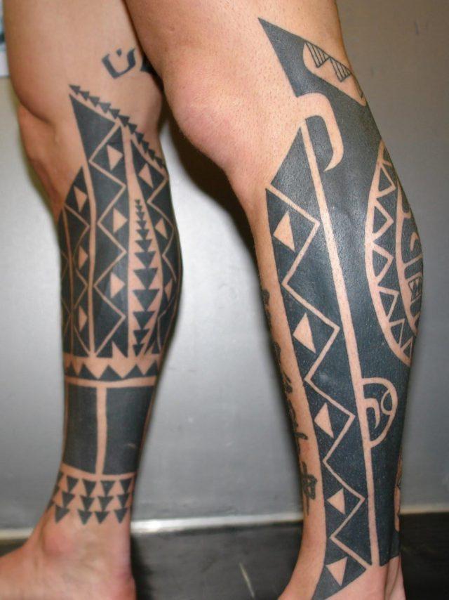Matching aztec leg tattoo for men