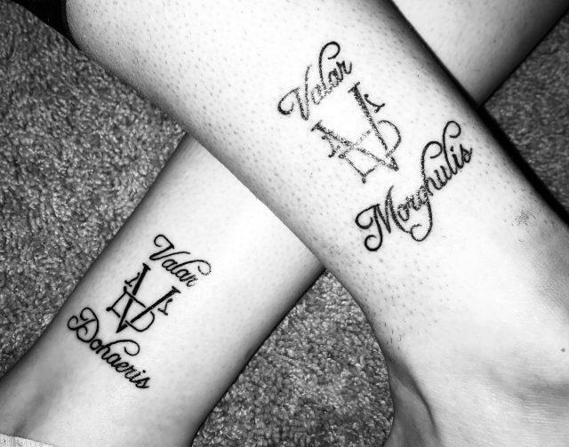 Matching deer tattoos