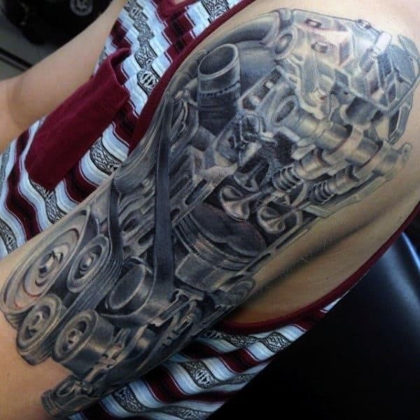 Mechanical arm tattoo for men