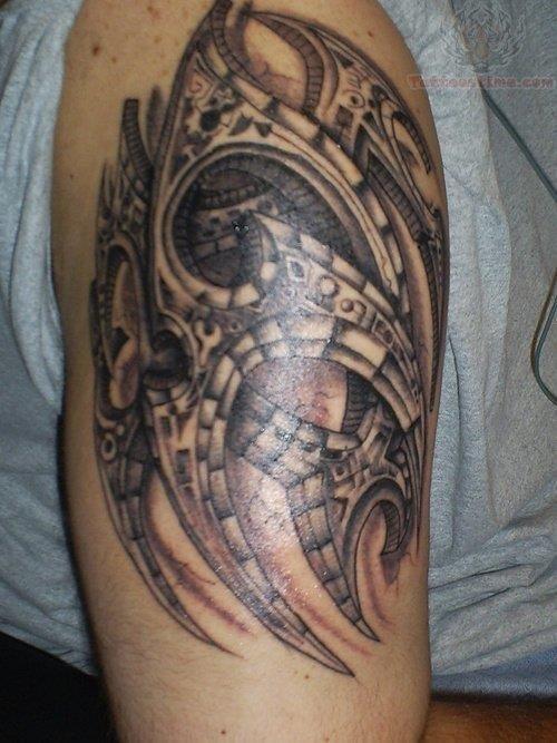 Mechanical cybore tattoo on bicep