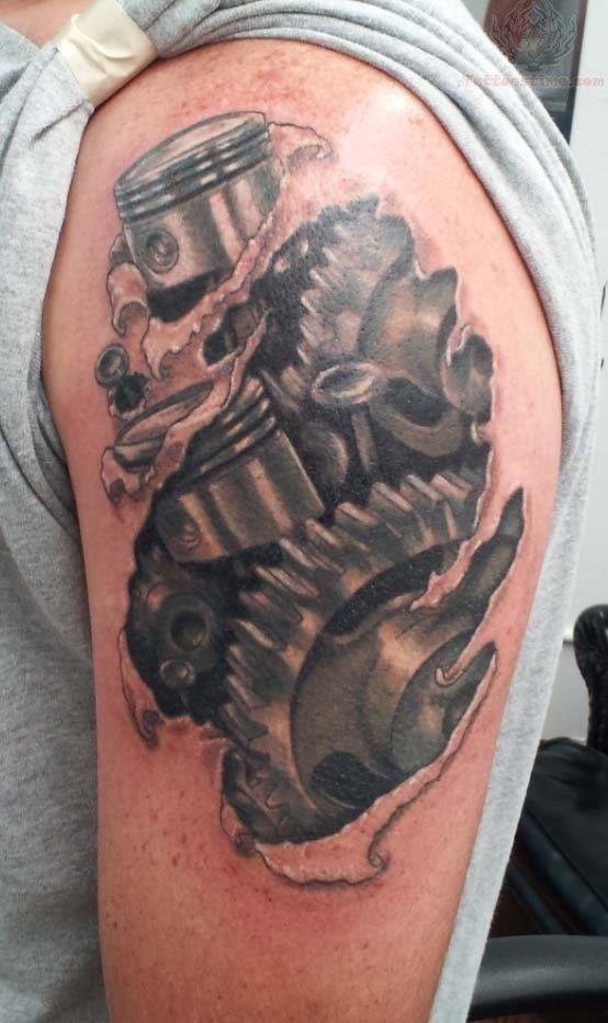 Mechanical shoulder tattoos