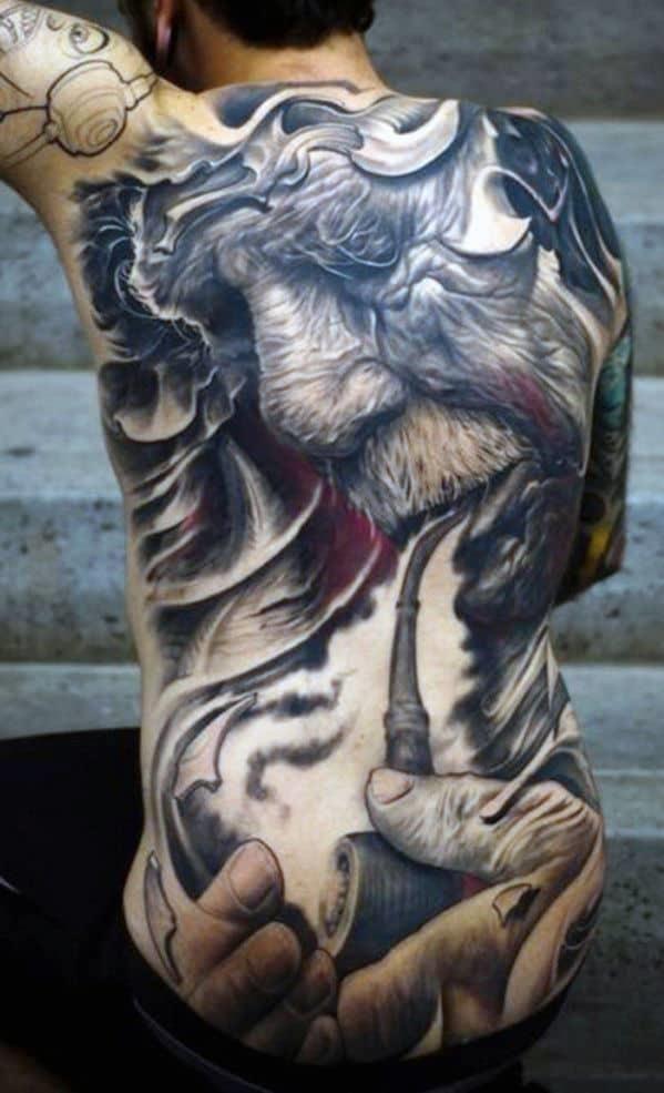 Men lower back tattoos