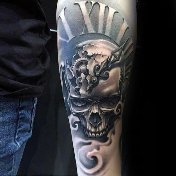 Mens 3d skull clock inner forearm tattoos