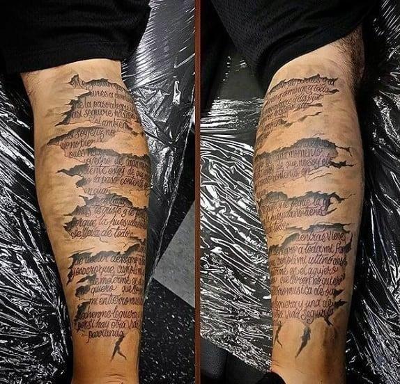 Mens back of calf tattoo