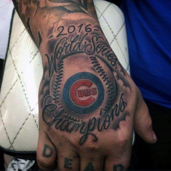 Mens baseball hand chicago cubs tattoo ideas
