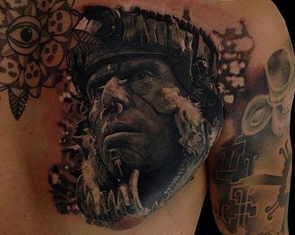 Mens chest realistic Aztec warrior tattoo