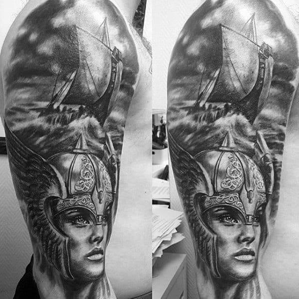 Mens cool half sleeve viking ship valkyrie tattoo ideas