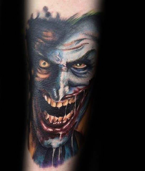 Mens crazy joker inner forearm tattoos