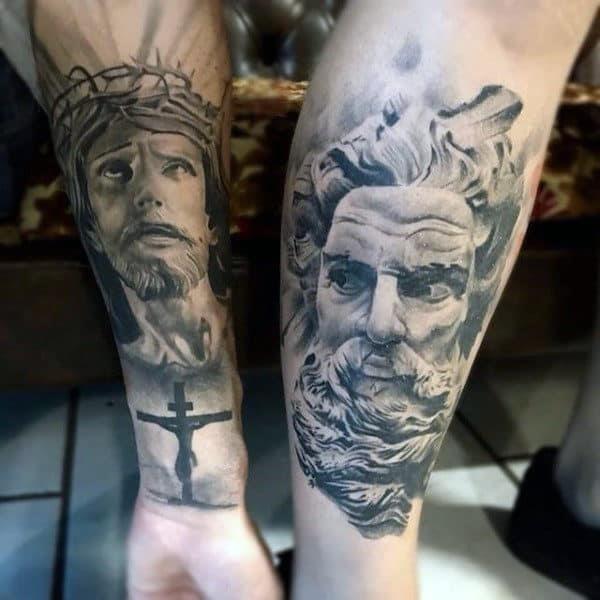 Mens forearms monochrome religious tattoo