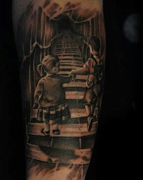 Mens forearms sibling love family tattoo