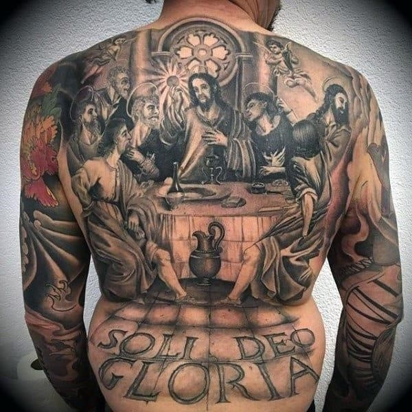 Mens full back Last Supper Religious tattoo