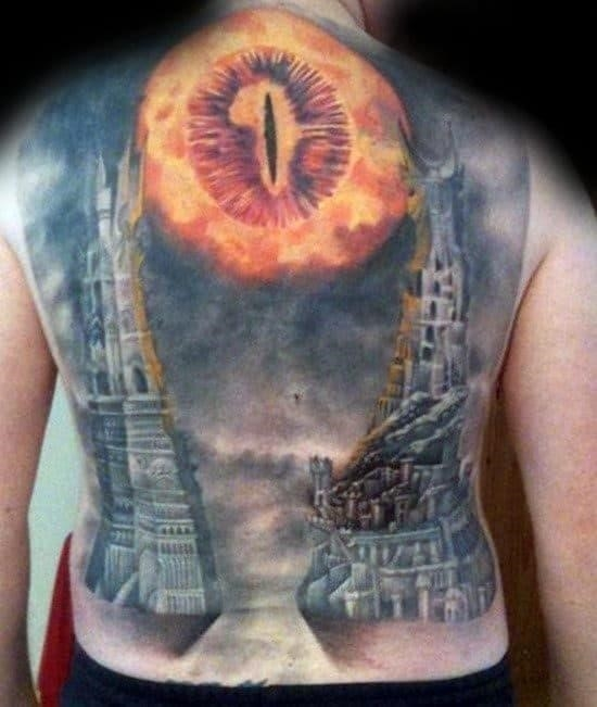 Mens full back lord of the rings tattoo