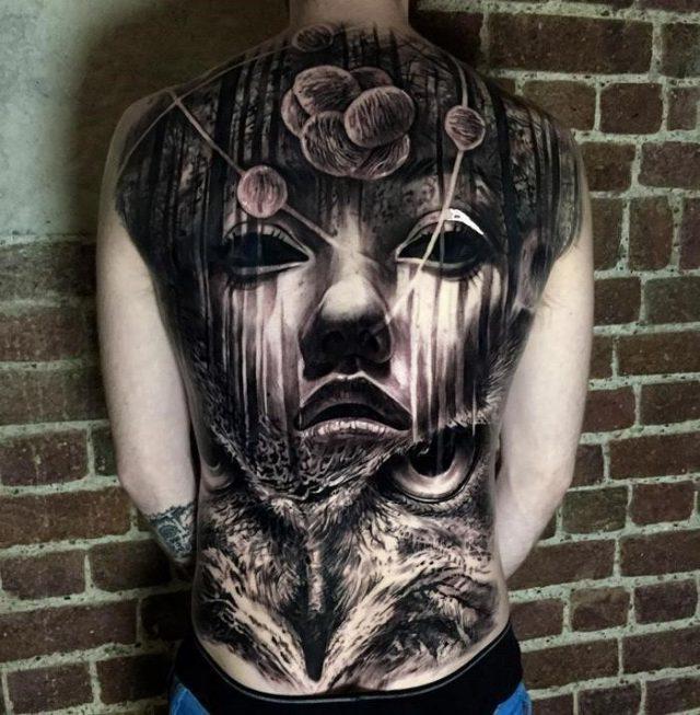 Mens full back tattoo owl face