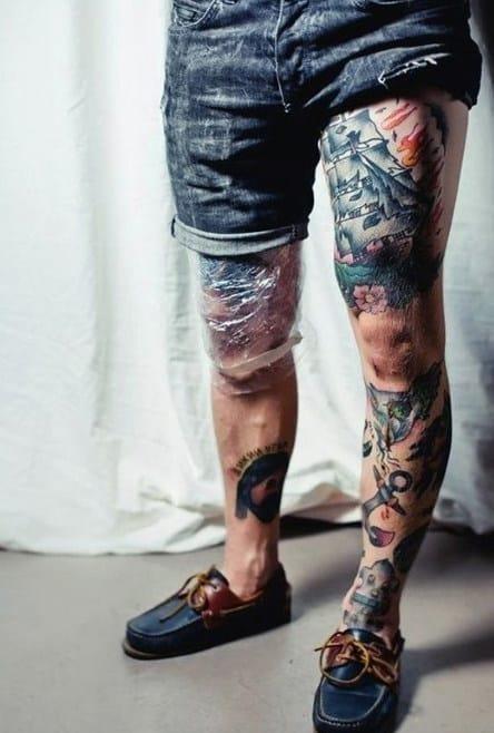 Mens full leg traditional themed tattoo designs