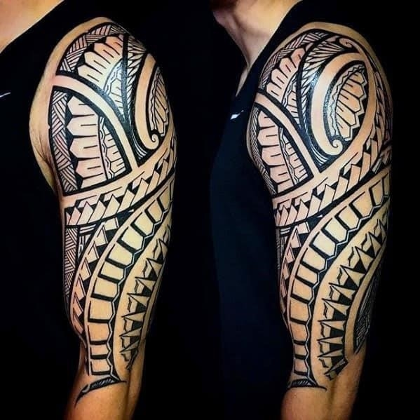 Mens half sleeve polynesian tribal arm tattoos
