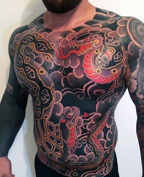 Mens japanese snakes full chest tattoo