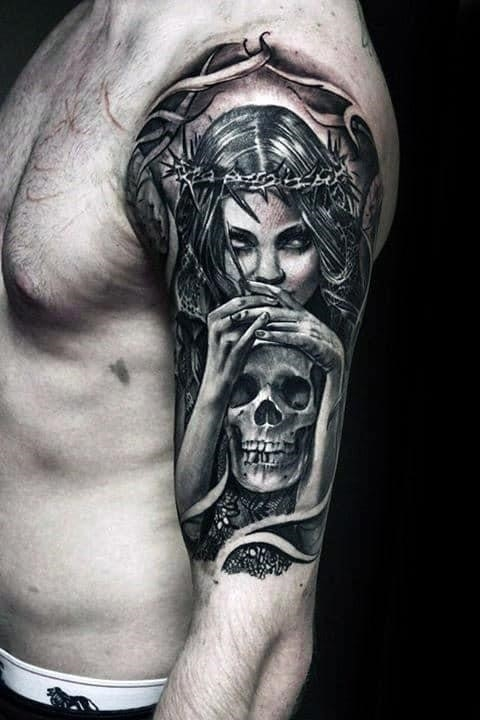 Mens life death female angel holding skull half sleeve tattoo design ideas