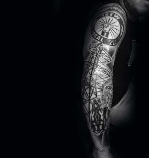 Mens lineman ibew themed full sleeve tattoo inspiration