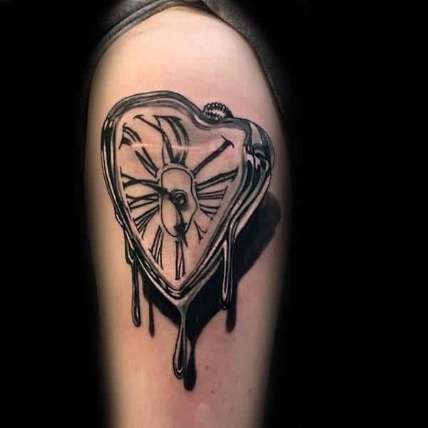 Mens melting clock realistic 3d arm tattoo ideas