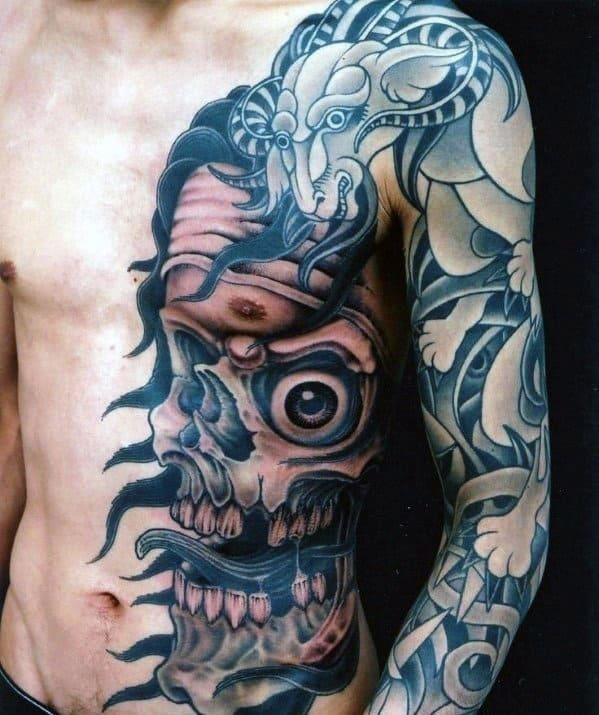Mens rib cage side and chest skull tattoo designs