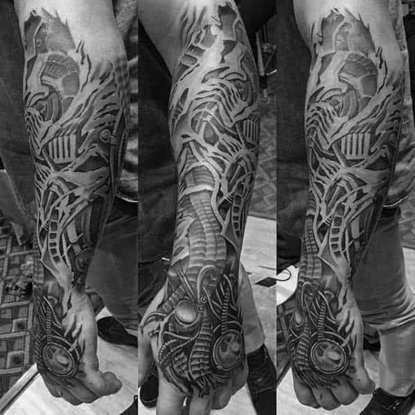 Mens ripped skin mechanical badass 3d forearm tattoo