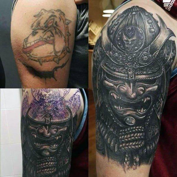 Mens samuari tattoo cover up half sleeve ideas