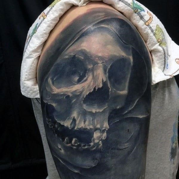 Mens shoulders black and white tattoo of skull