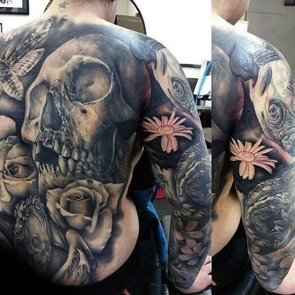 Mens skull and rose full back amazing tattoo ideas