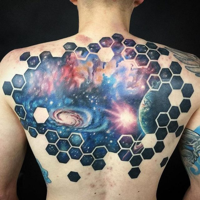 Mens space back tattoo