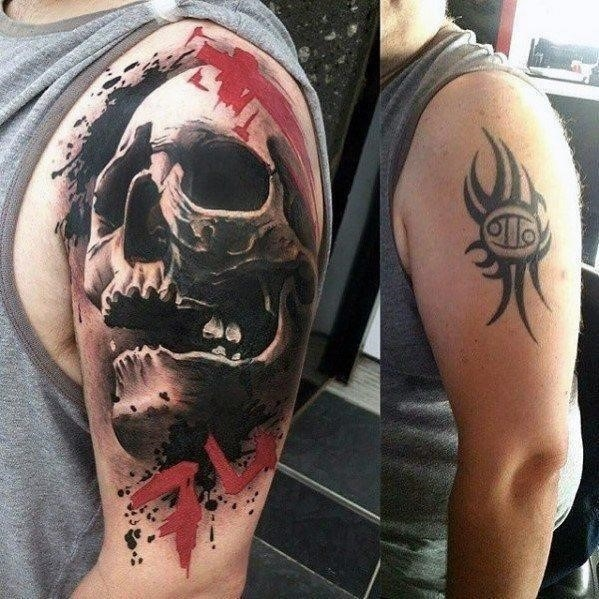 Mens tribal cover up tattoo on arm with 3d skull design