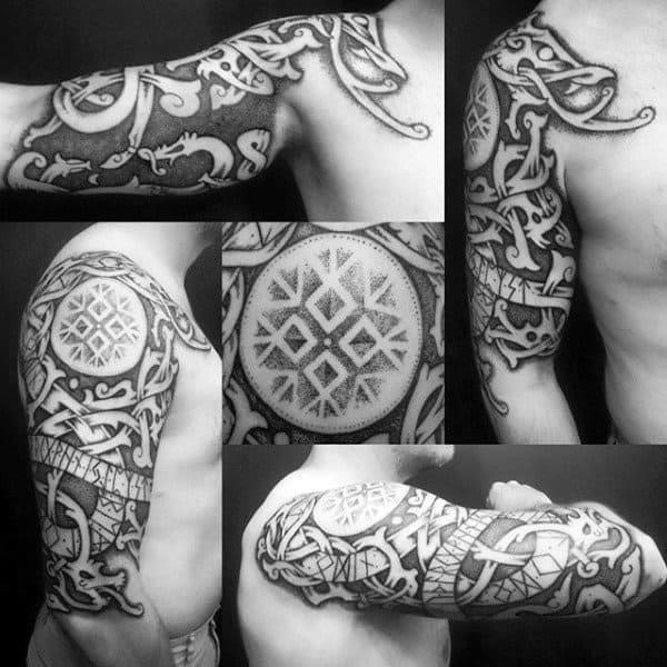 Mens viking skull tattoo