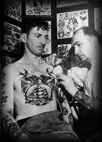Mens vintage tattoo design inspiration on chest