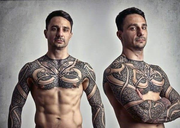 Mindblowing Norse tattoo mens arms and chest