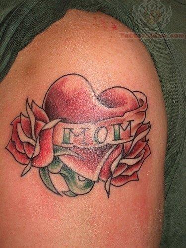 Mom heart tattoo on shoulder