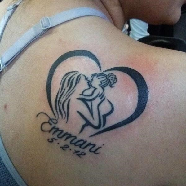 Mother daughter heart tattoo with birth date