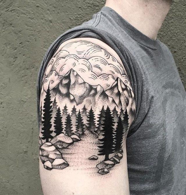 Mountains trees linework
