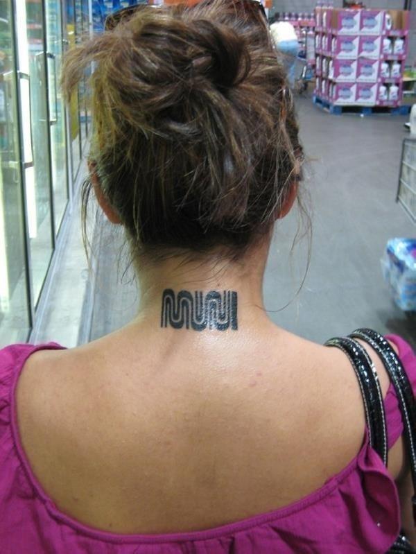 Muni back neck tattoo for girls