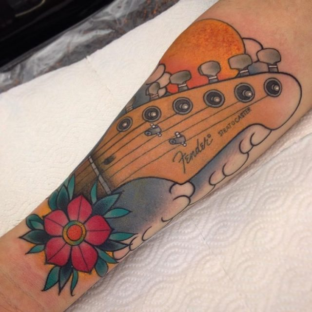 Music tattoo designs 72 poppy guitar