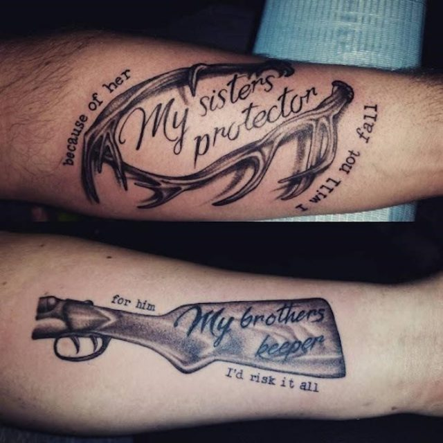 My sisters protector with deer horns forearm tattoos brother sister matching tattoos my brothers keeper with rifle