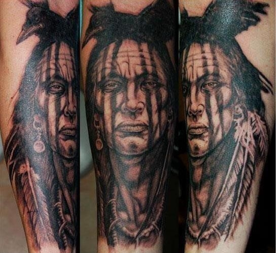 Native american tattoo crow
