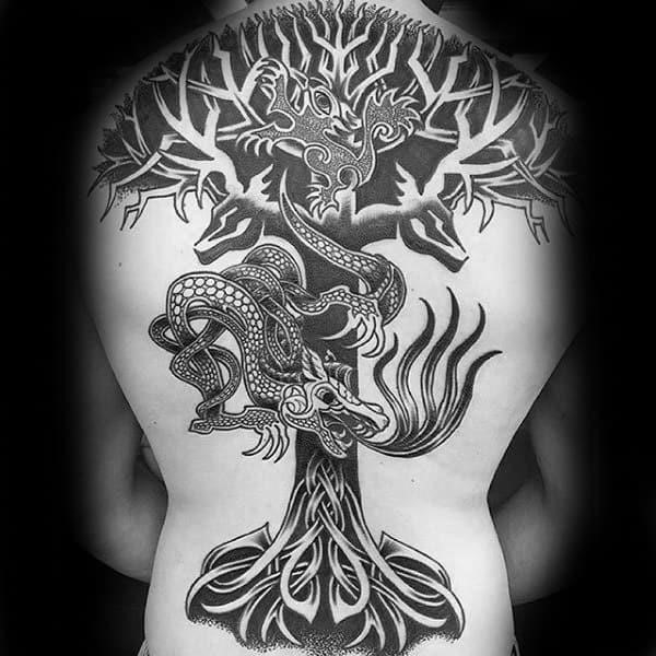 Negative space tree celtic knot mens full back tattoos
