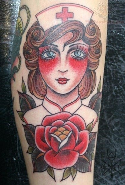 Nurse head and red rose tattoo