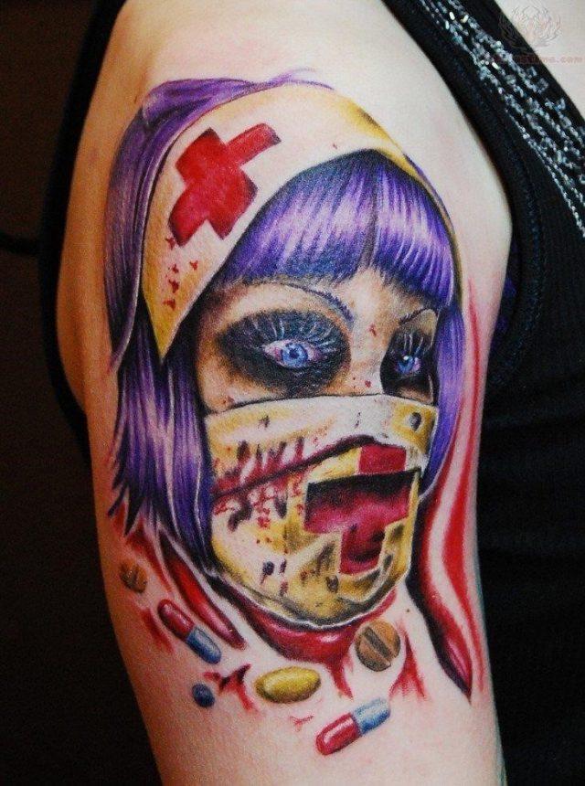 Nurse head tattoo on bicep