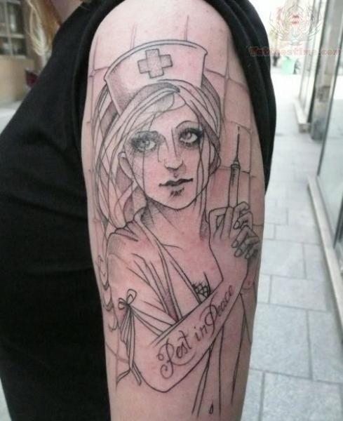 Nurse sketch tattoo on bicep