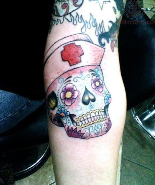 Nurse sugar skull tattoo on arm