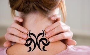 Nurse with neck tattoo