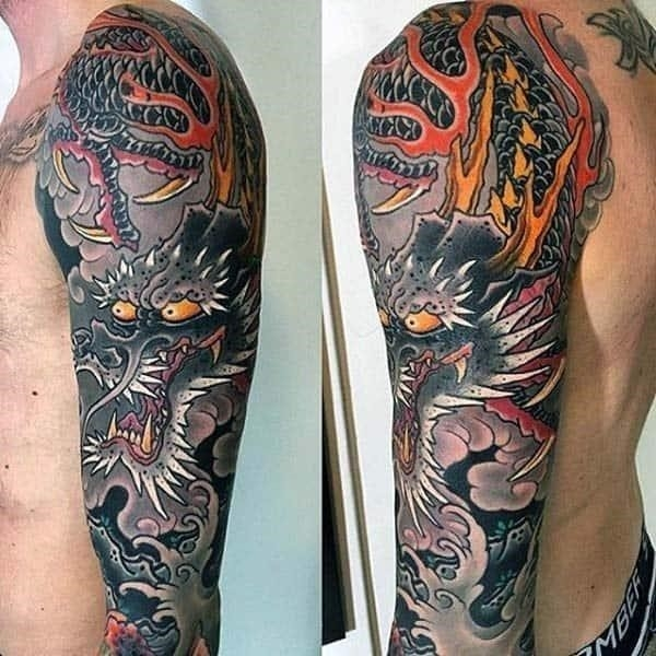 Ocean waves with flames japanese dragon mens sleeve tattoo