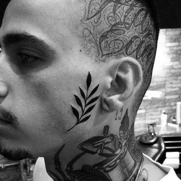 Olive branch mens black ink face tattoos